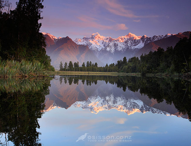 Sunset Reflection Lake Matheson & The Southern Alps New Zealand