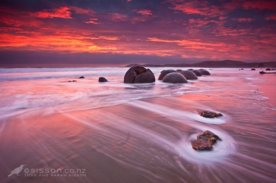 Sunrise Over The Moeraki Boulders, Coastal Otago, New Zealand