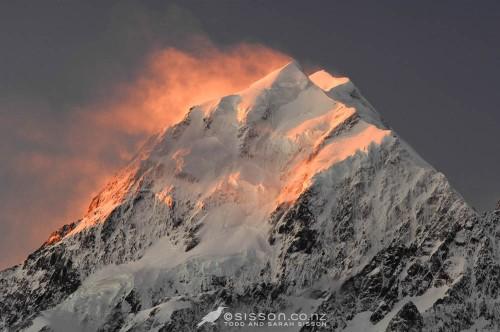 New Zealand Landscape Photos | spectacular orange sunset Aoraki Mt Cook