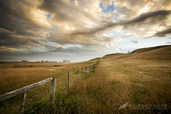 dramatic clouds over a summer field, near moeraki new zealand