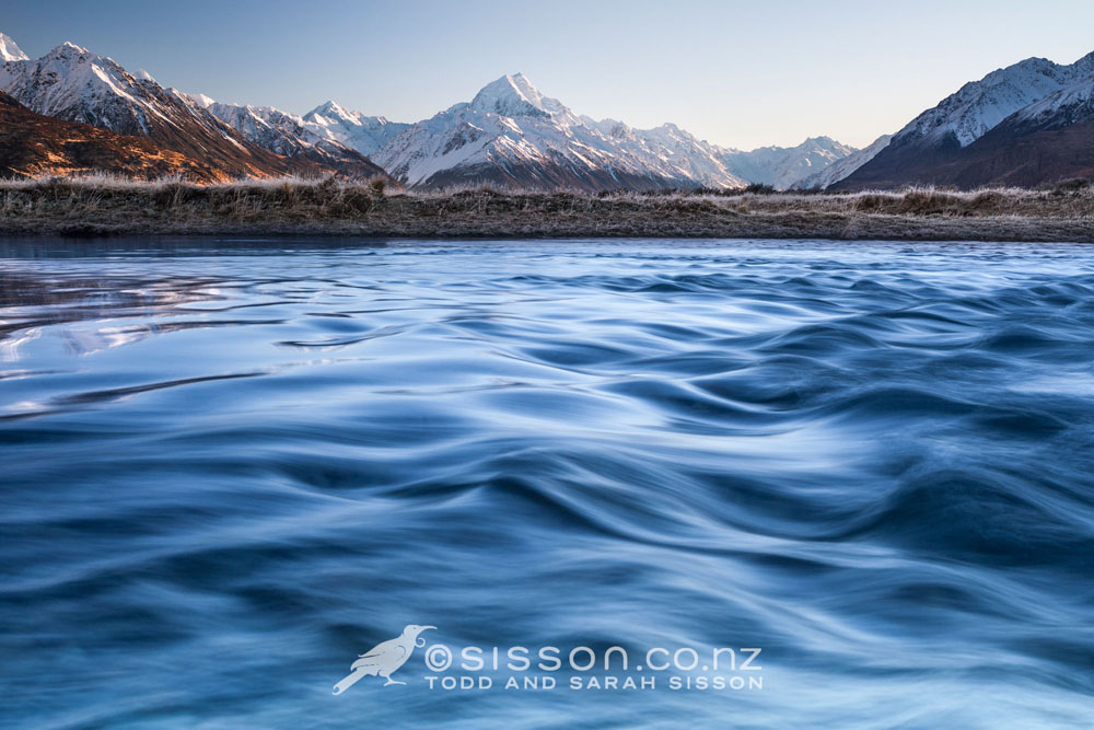 New Zealand Photos | Winter sunrise, Tasman River towards Aoraki / Mt Cook, Canterbury, NZ