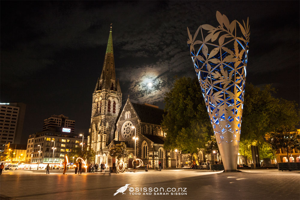 New Zealand Time Wallpaper: Cathedral Square At Night, Christchurch, New Zealand