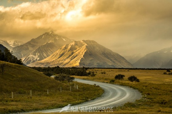 Spectacular sunset light, Southern Alps. Road to Mesopotamia Station, Rangitata Valley. Canterbury NZ