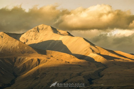 Sunset light on ridgelines, Rangitata River Valley Canterbury.  New Zealand landscape photography by Todd Sisson.