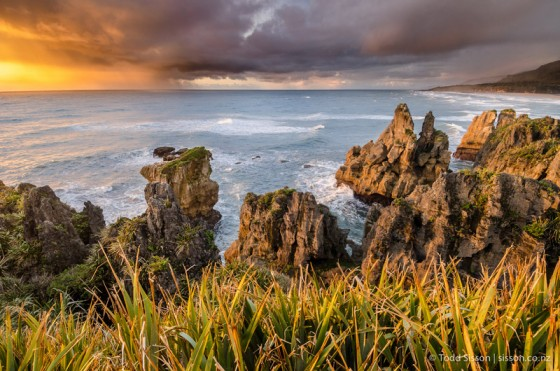 Punakaiki Beach at Sunset, West Coast, South Island. Beautiful New Zealand landscape pictures by Todd Sisson.